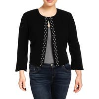 Tahari ASL Womens Plus Collarless Blazer Embellished Office - 18W