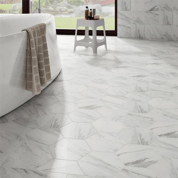 SomerTile 8.625x9.875-inch Marmol Carrara Hex Porcelain Floor and Wall Tile (25 tiles/11.56 sqft.). Opens flyout.