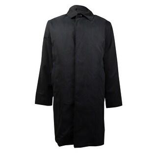 London Fog Men's Microfiber Wool Trim Raincoat (Black, 44R) - 44 r/m37.5