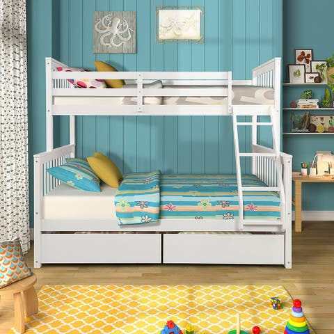 Twin-Over-Full Bunk Bed with Ladders and Two Storage Drawers 3 Color