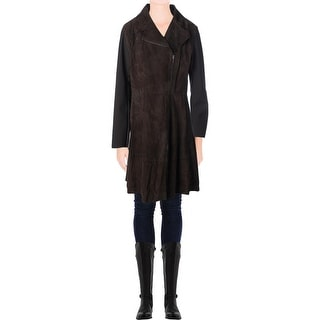 Elie Tahari Womens Aliza Suede Notch Collar Coat