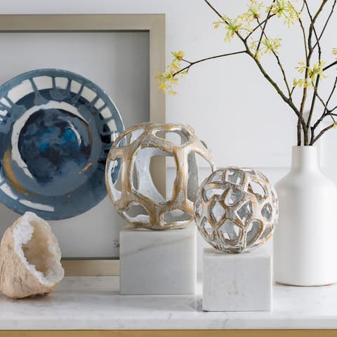 "Artemio White Marble Transitional 8"" Decorative Sculpture"