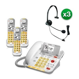 Uniden D3098-3 with Headset DECT 6.0 Amplified Corded/Cordless Phone w/ 2 Extra Handsets
