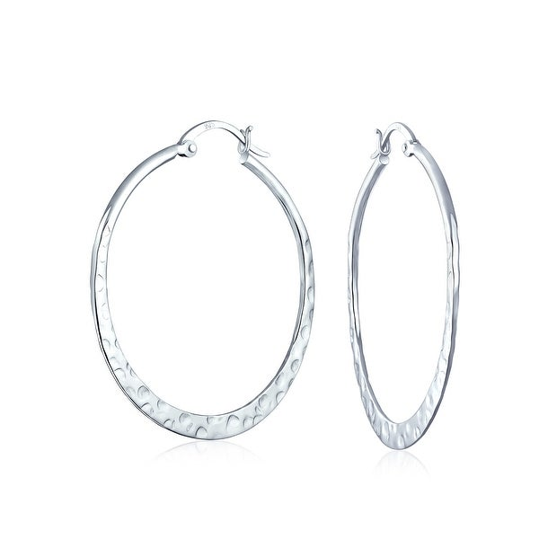f248f29ba041a Boho Large Hammered Flat Thin Large Hoop Earrings For Women For Teen 925  Sterling Silver 1.5 Inch Dia