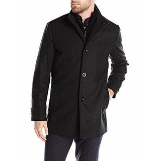 Kenneth Cole NEW Charcoal Gray Mens Size Large L Button-Front Coat Wool