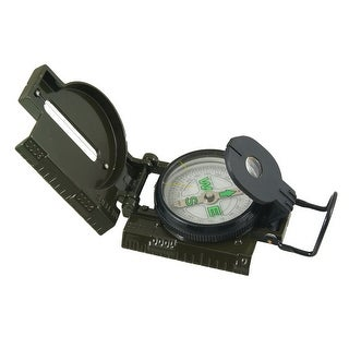 Unique Bargains Army Green Hiking Camping Metal Round Dial Pocket Compass