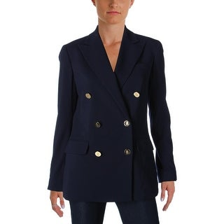 Ralph Lauren Womens Double-Breasted Suit Jacket Star Collar Pockets