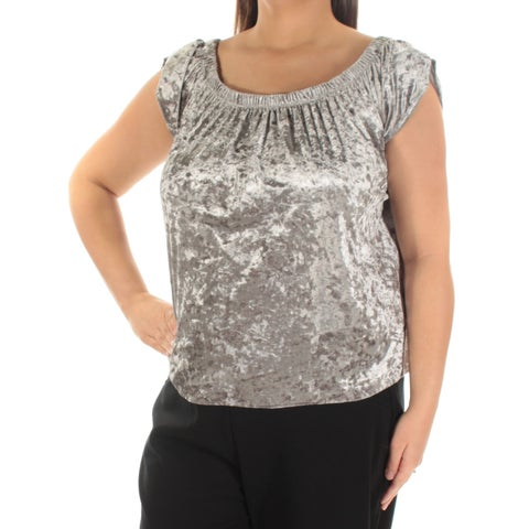 Womens Silver Petal Sleeve Scoop Neck Casual Top Size XL