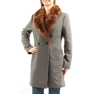 FRENCH CONNECTION $368 Womens New 1060 Black Tweed Faux Fur Peacoat Coat 10 B+B