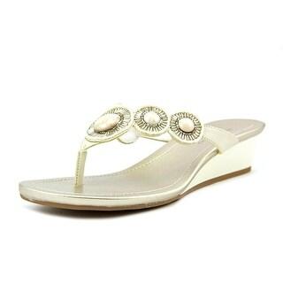 Bandolino Briah Women Open Toe Synthetic Ivory Wedge Sandal