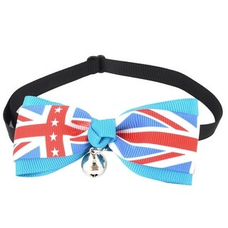 UK Flag Printed Bell Detail Pet Dog Plastic Buckle Bow Tie Red White Blue