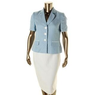 Le Suit Womens Yacht Club Tweed Short Sleeves Skirt Suit