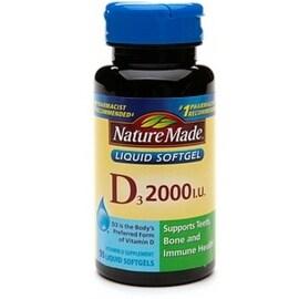 Nature Made Vitamin D3 2000 IU Liquid Softgels 90 ea