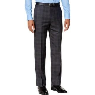 Ryan Seacrest Distinction Mens Dress Pants Wool Blend Plaid