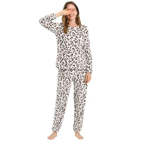 Flannel Pajama Set for Women Printed Long Sleeve Nightwear Loungewear