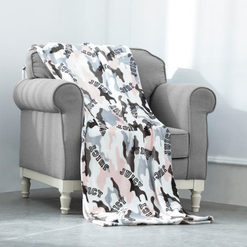 """Juicy Couture Camouflage 50"""" x 70"""" Plush Throw"""