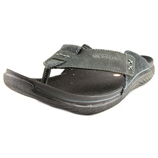 Merrell Bask Thong Men Open Toe Leather Black Thong Sandal