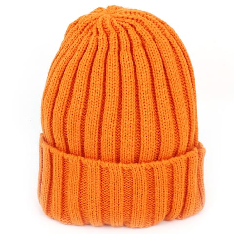 Outdoor Winter Ribbed Roll Up Hem Cuff Knitted Warm Hat Beanie Cap