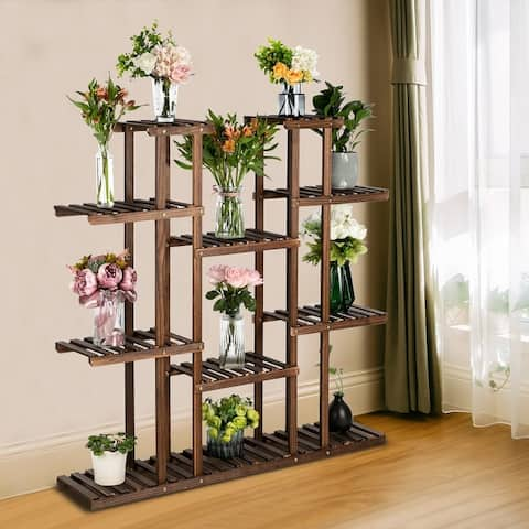 6-Story 11-Seat Multifunctional Carbonized Wood Plant Stand Indoor And Outdoor