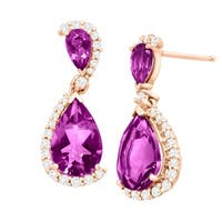 2 1/2 ct Natural Amethyst & 1/5 ct Diamond Drop Earrings in 10K Rose Gold - Purple