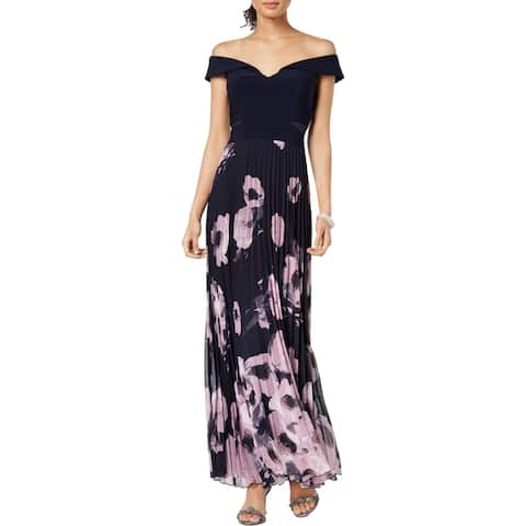 Xscape Womens Petites Evening Dress Off-The-Shoulder Full Length