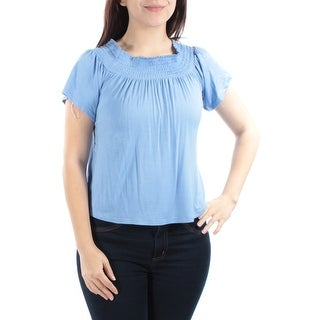 Womens Blue Short Sleeve Cowl Neck Top Size M