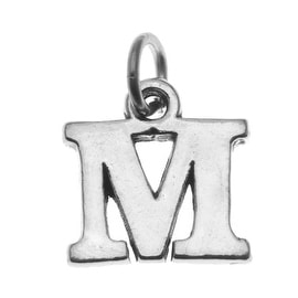 Sterling Silver Alphabet Charm, Initial Letter 'M' 15mm, 1 Piece, Silver