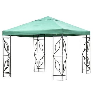 Gymax 10'x10'Green Patio Outdoor Tent Gazebo Canopy Shelter
