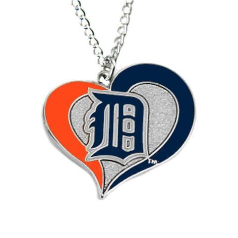MLB Detroit Tigers Sports Team Logo Swirl Heart Necklace