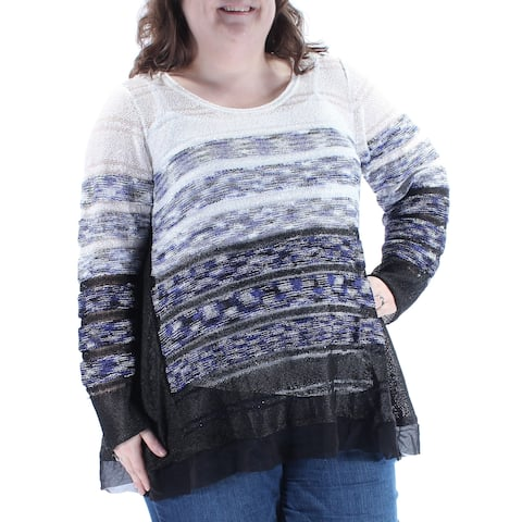 ALFANI Womens Blue Sequined W/slip Ombre Stiped Long Sleeve Scoop Neck Sweater Plus Size: 2X