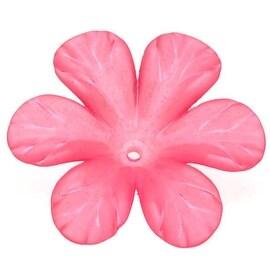 Lucite 6 Petal Tropical Flower Beads Matte Hot Neon Pink 30mm (4)