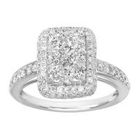 1 1/2 ct Diamond Cushion Ring in 10K White Gold - Size 7