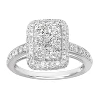 1 1/2 ct Diamond Cushion Ring in 10K White Gold - Size 7