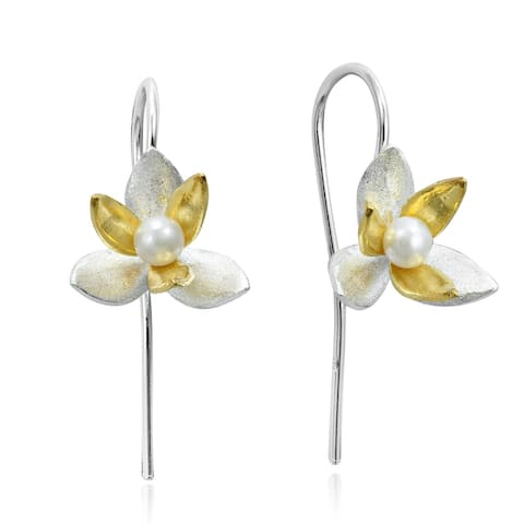Handmade Two Tone Pearl Orchid Gold Overlay 925 Silver Hook Dangle Floral Earrings (Thailand)