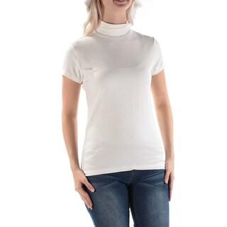 RALPH LAUREN $69 Womens New 1221 Ivory Turtle Neck Short Sleeve Casual Top S B+B