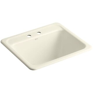 "Kohler K-19017-2 Glen Falls 25"" Single Basin Undermount or Drop In Cast Iron Utility Sink with Two Faucet Holes"