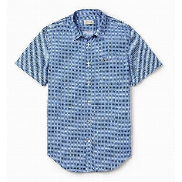 ebdae497 Lacoste NEW Thermal Blue Mens Size XL/2XL Slim-Fit Grid-Pattern Shirt