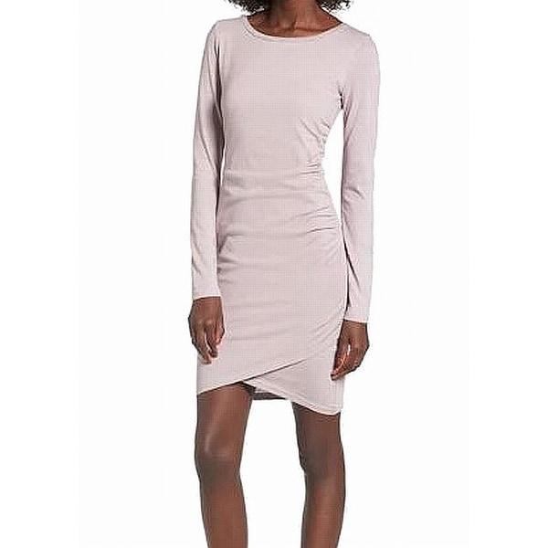 Leith Pink Womens Size Large L Ruched Wrap Hem Crewneck Shirt Dress