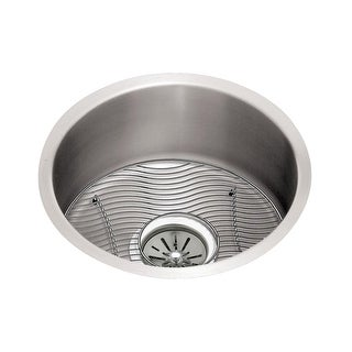 "Elkay ELUH12FBDBG  Mystic Lustertone Stainless Steel 14-3/8"" Single Basin Undermount Kitchen Sink 6"" Depth, Bottom Grid, and"