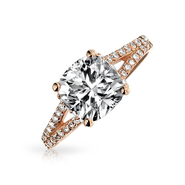 a1c5e8d057031 3 CT Square Cushion Cut AAA CZ 925 Sterling Silver Rose Gold Plated  Engagement Ring Cubic Zirconia Split Pave Shank Band