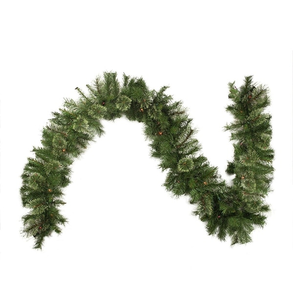 """9' x 10"""" Pre-Lit Mixed Cashmere Pine Artificial Christmas Garland - Multi-Color Lights - green"""