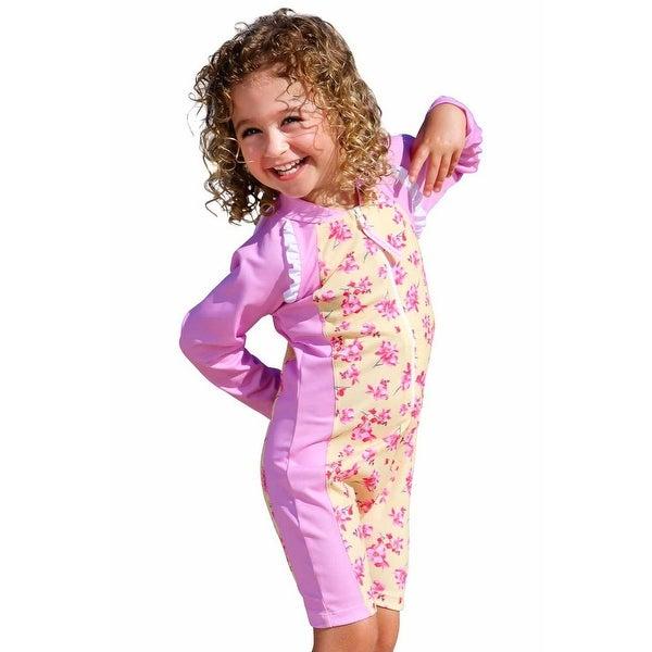Sun Emporium Baby Girls Yellow Pink Cherry Blossom Long Sleeve Sun Suit