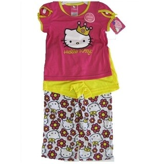 Hello Kitty Girls Fuchsia Kitty Image Star Print 2 Pc Pajama Set 8-10