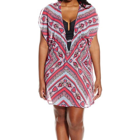 Becca Pink Womens Size 1X Plus Plunge Neck Cover-Up Swimwear