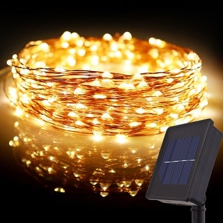 72ft LED Starry Sting Lights,200 Warm White LEDs,Solar Powered Flexible Copper Wire Christmas Lights,Indoor/Outdoor Decoration