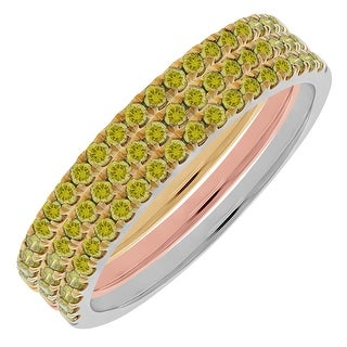 Prism Jewel 0.60 TDW Round Yellow Color Diamond Set of 3 Tri-Color Gold Band