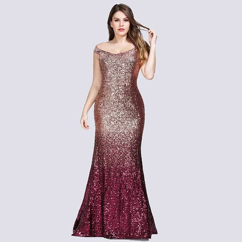 Ever-Pretty Womens Sequin Fishtail Sexy Plus Size Long Formal Evening Prom Dress 89992