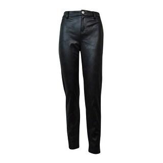 Tinseltown Juniors' Faux-Leather Skinny Jeans (Black, 13) - Black