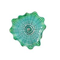 """9"""" Aquamarine Blue and Silver Waterfront Hand Blown Glass Wall Art Decor"""