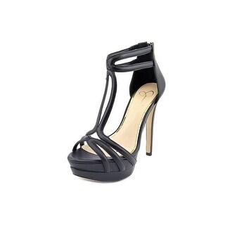 Jessica Simpson Salvati Women Open Toe Leather Black Platform Heel